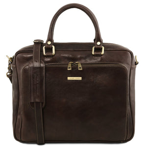 Front View Of The Dark Brown Leather Laptop Briefcase Bag
