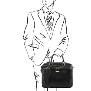Man Posing With The Black Leather Laptop Briefcase Bag