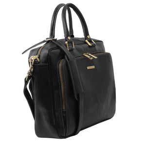 Angled View Of The Black Leather Laptop Briefcase Bag