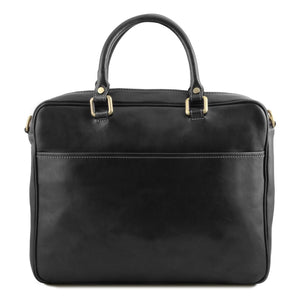 Rear View Of The Black Leather Laptop Briefcase Bag