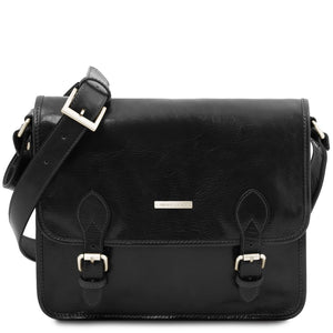 Front View Of The Black Messenger Shoulder Bag
