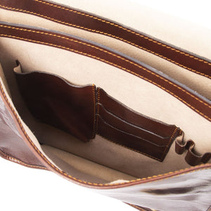 Internal Features View Of The Brown Messenger Shoulder Bag