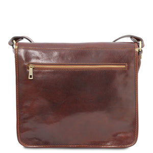 Rear View Of The Brown Messenger Shoulder Bag
