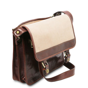 Flap View Of The Brown Messenger Shoulder Bag