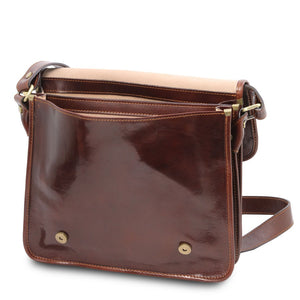 Front Pocket View Of The Brown Messenger Shoulder Bag