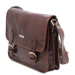 Angled View Of The Brown Messenger Shoulder Bag