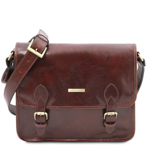 Front View Of The Brown Messenger Shoulder Bag