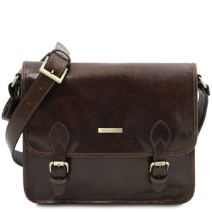 Front View Of The Dark Brown Messenger Shoulder Bag