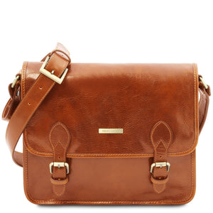Front View Of The Honey Messenger Shoulder Bag