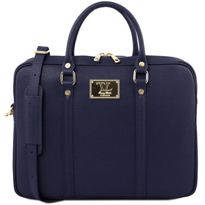 Front View Of The Dark Blue Ladies Leather Laptop Case