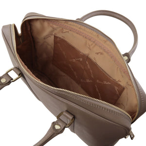 Internal Pockets View Of The Dark Taupe Ladies Leather Laptop Case