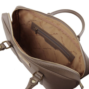 Internal Zip Pocket View Of The Dark Taupe Ladies Leather Laptop Case