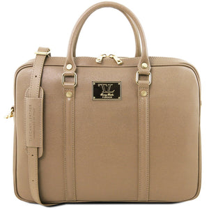 Front View Of The Caramel Ladies Leather Laptop Case