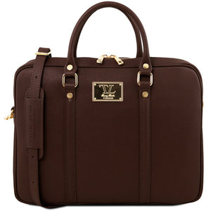Front View Of The Dark Brown Ladies Leather Laptop Case