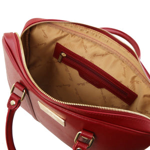 Internal Zip Pocket View Of The Red Ladies Leather Laptop Case