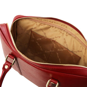 Internal Pockets View Of The Red Ladies Leather Laptop Case
