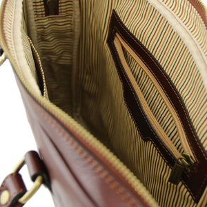 Internal Zip Pocket View Of The Brown Womens Leather Laptop Bag