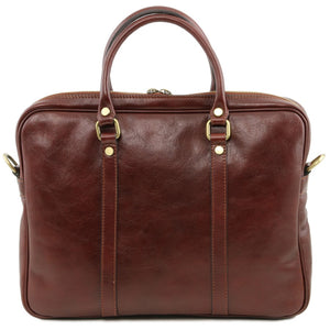 Rear View Of The Brown Womens Leather Laptop Bag