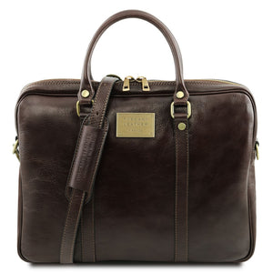 Front View Of The Dark Brown Womens Leather Laptop Bag