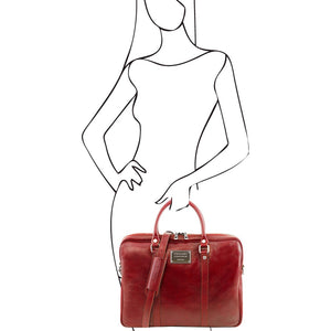 Women Posing With The Red Womens Leather Laptop Bag