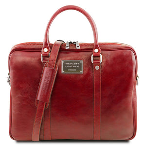 Front View Of The Red Womens Leather Laptop Bag