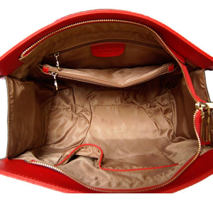 Internal View Of The Red Leather Handbag For Ladies