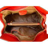 Internal View Of The Red Leather Handbag With Shoulder Strap