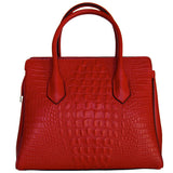 Rear View Of The Red Leather Handbag With Shoulder Strap