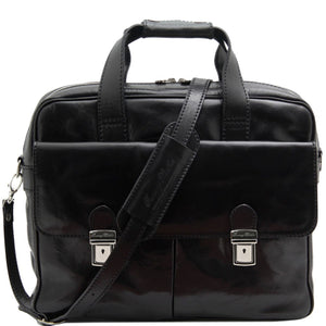 Front View Of The Black Leather Laptop Bag