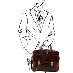 Man Posing With The Brown Leather Laptop Bag