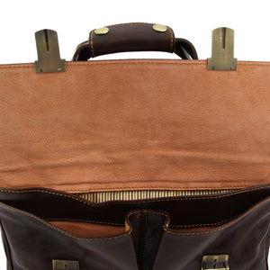 Opening Flap View Of The Brown Leather Laptop Bag