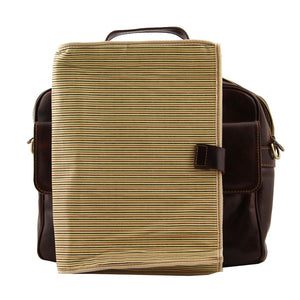 Feature View Of The Brown Leather Laptop Bag