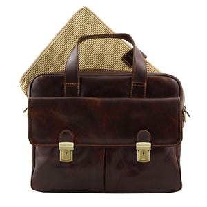 Frontal With Feature View Of The Brown Leather Laptop Bag