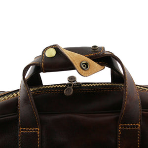 Snap Closing Top Handle View Of The Brown Leather Laptop Bag