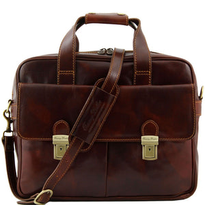 Front View Of The Brown Leather Laptop Bag