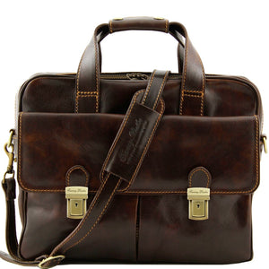 Front View Of The Dark Brown Leather Laptop Bag