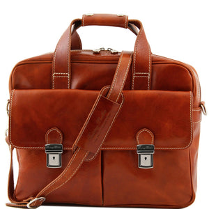 Front View Of The Red Leather Laptop Bag