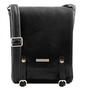 Front View Of The Black Leather Crossbody Shoulder Bag