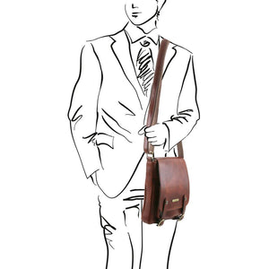 Man Posing With The Brown Leather Crossbody Shoulder Bag