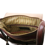 Internal Zip Pocket View Of The Brown Leather Crossbody Shoulder Bag