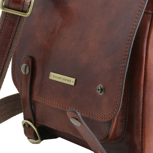 Angled Features View Of The Brown Leather Crossbody Shoulder Bag