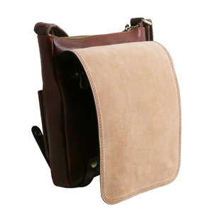 Opening Flap View Of The Brown Leather Crossbody Shoulder Bag