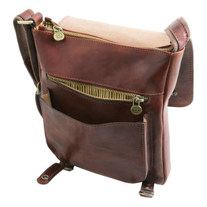 Front Pocket View Of The Brown Leather Crossbody Shoulder Bag