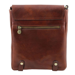 Rear View Of The Brown Leather Crossbody Shoulder Bag