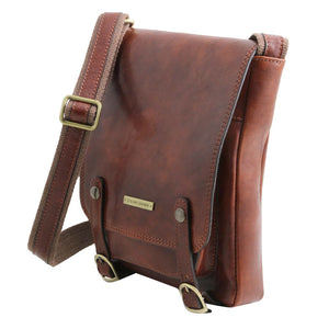 Angled And Shoulder Strap View Of The Brown Leather Crossbody Shoulder Bag
