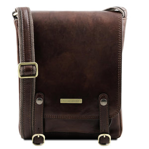 Front View Of The Dark Brown Leather Crossbody Shoulder Bag