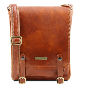 Front View Of The Honey Leather Crossbody Shoulder Bag