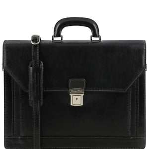 Front View Of The Black Mens Large Leather Briefcase
