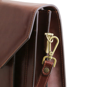 Shoulder Strap Attachment View Of The Brown Mens Large Leather Briefcase