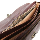 Internal Compartments View Of The Brown Mens Large Leather Briefcase